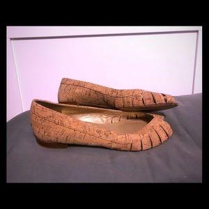 Cork peep toe flats